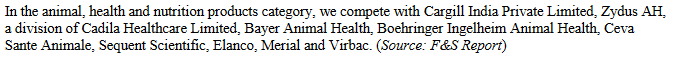 Peers in animal health and nutrition products