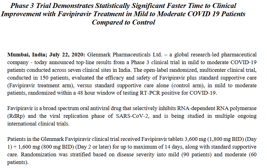Phase 3 trials of Favipiravir by Glenmark shows faster time to improvement in mid to moderate COVID19 patients