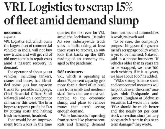 AUTOMOBILES CV : RECOVERY WILL BE SLOW , VRL logistics to scrap 15% of fleet amid demand slump
