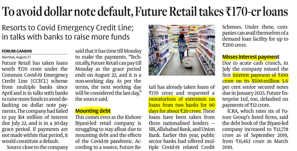 Future retail is in huge debt and missing payments. Future retail also availed moratorium of extension  on loans from two banks