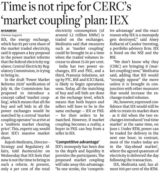 IEX : MOAT DISAPPEARING?  IEX has 95% market share in traded electricity
