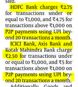 UPI payments being charged beyond 20 transactions/month