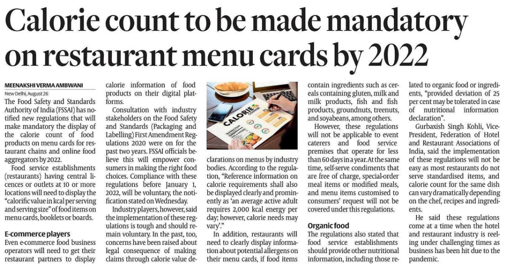 HOSPITALITY : COUNTING THE DAYS & CALORIES !!