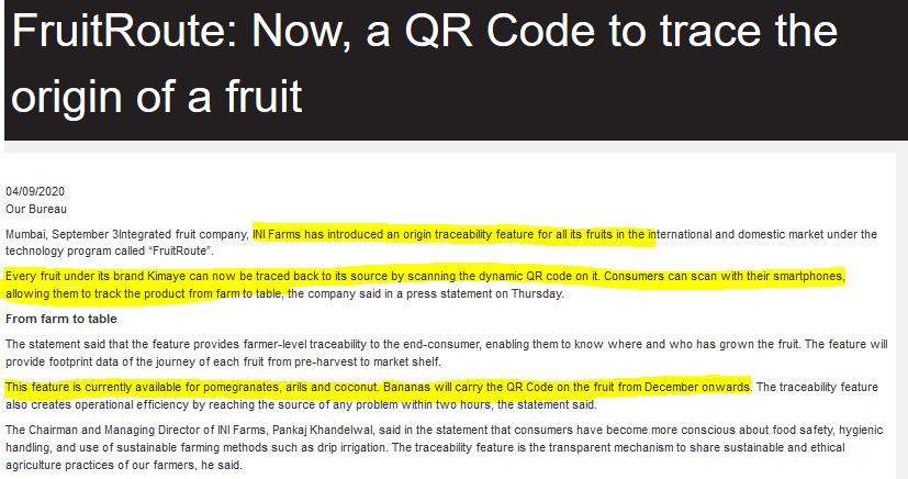 FRUIT TRACEABILITY : QR CODE