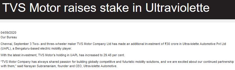 TVS motors raises stake in Ultraviolette