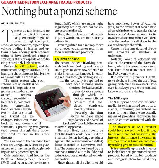 Ponzi Scheme kind of returns --Anugrah , NSEL Fixed returns