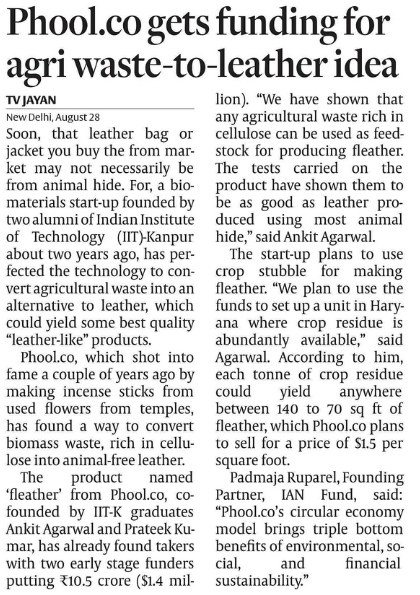 AGRI WASTE TO LEATHER -- Phool.co gets funding for agri waste to leather, Haryana is next stop Fleather