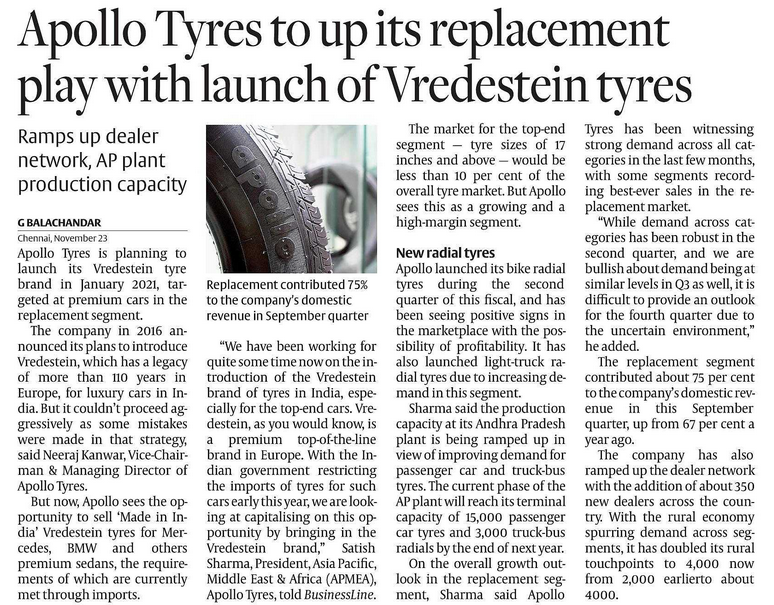 APOLLO TYRES : STOCK TO WATCH OUT FOR