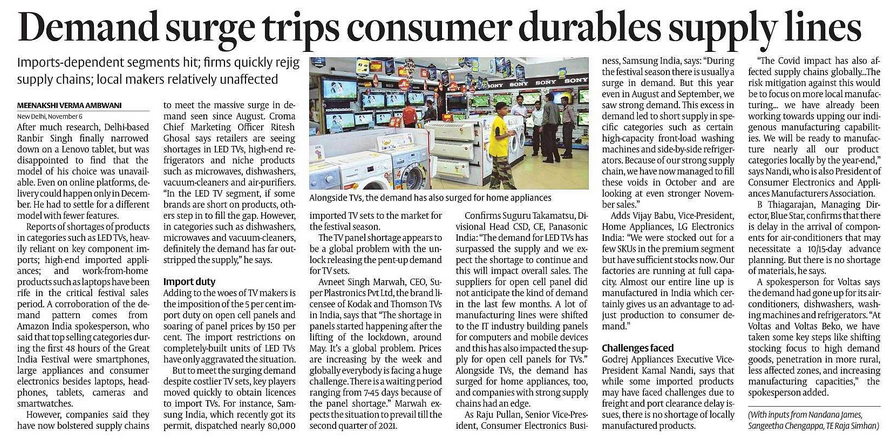 Voltas, IFB --Dishwashers, Washing machines, Consumer durables
