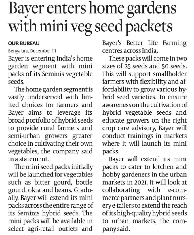 MINI VEG SEED PACKETS for home gardens by BAYER