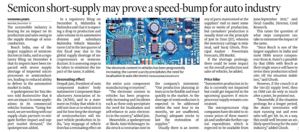 AUTO INDUSTRY & SEMICONDUCTORS SHORTAGE : Speed bumps