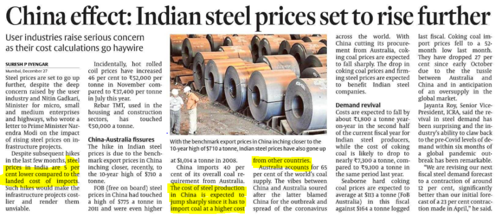 China effect on Indian steel prices