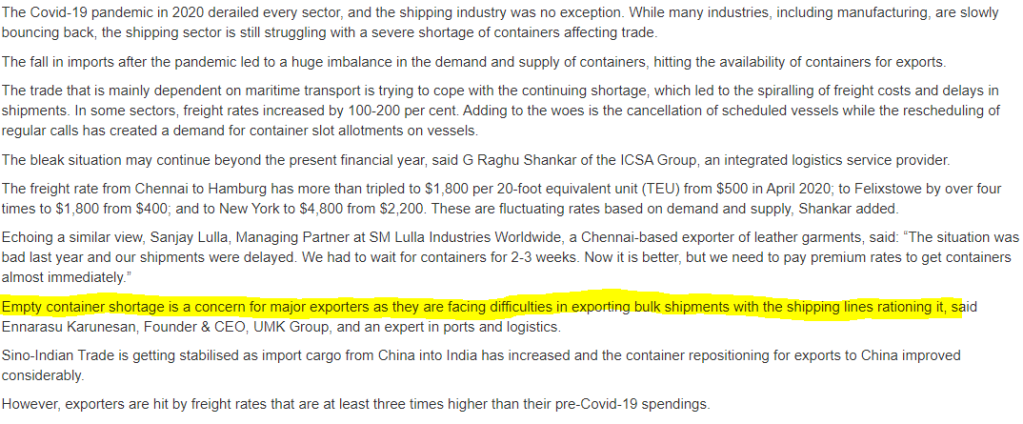 CONTAINER ROADBLOCK TO EXPORTS GROWTH!!