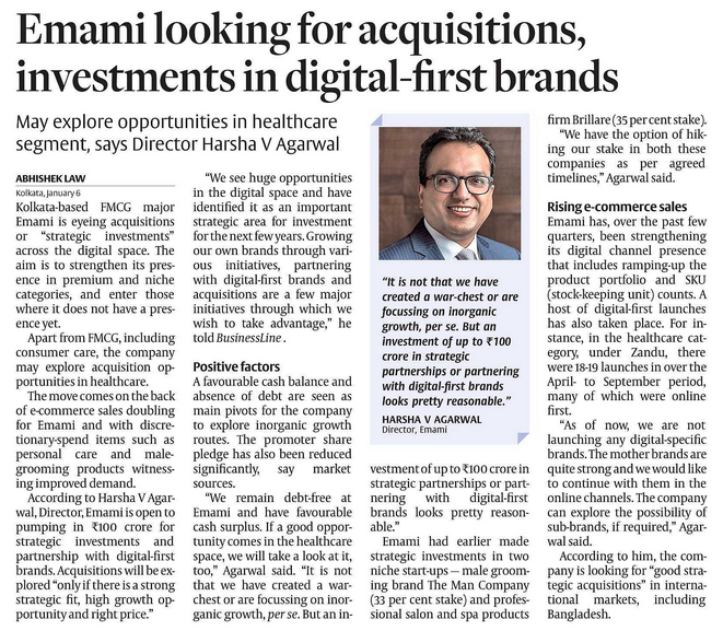 EMAMI : LOOKING FOR INORGANIC GROWTH