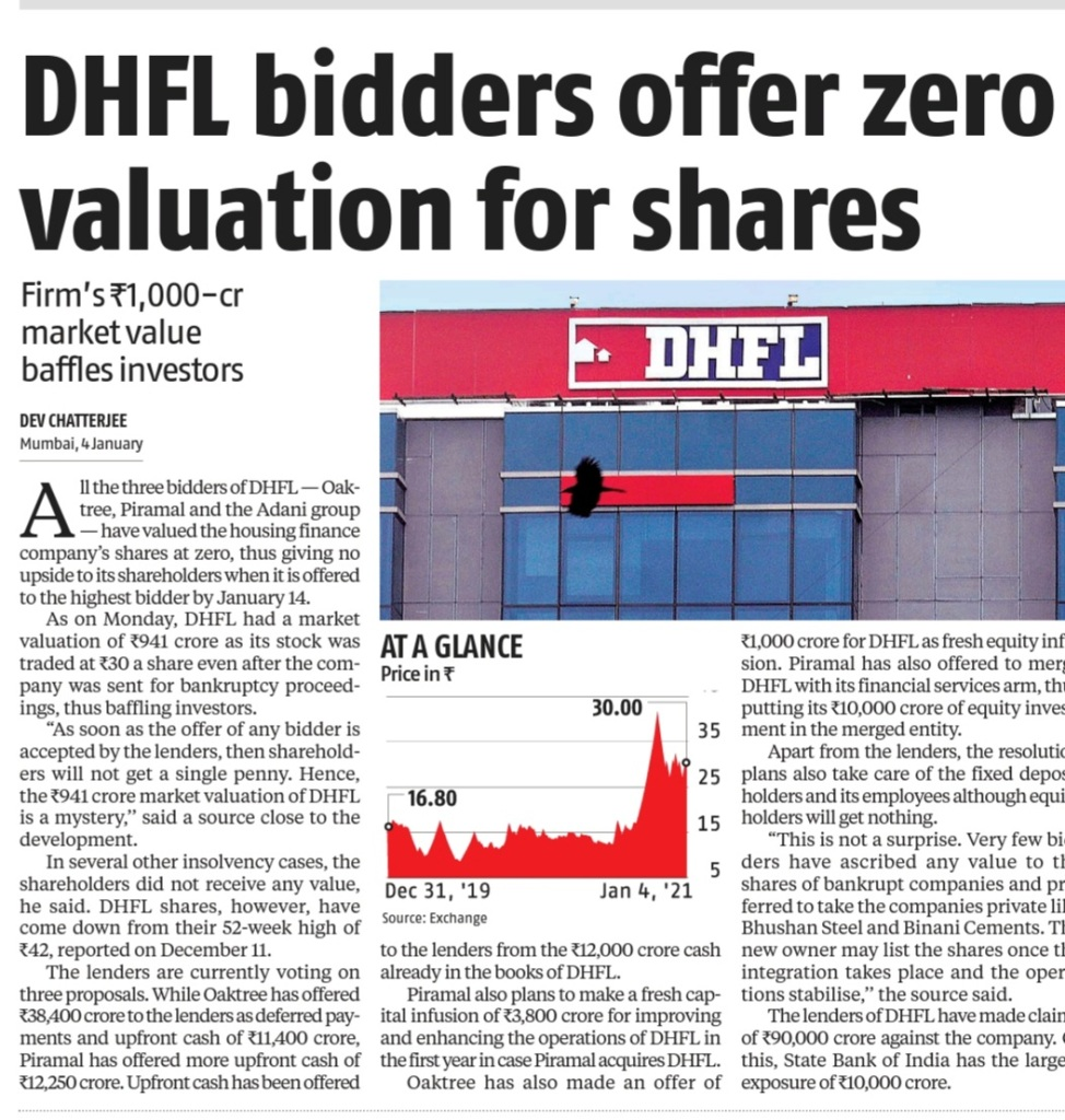 DHFL : ZERO VALUATION IN OFFERING