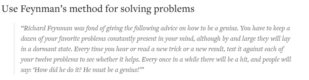 FEYNMAN'S METHOD OF SOLVING PROBLEMS