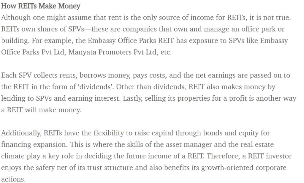 HOW REIT MAKE MONEY
