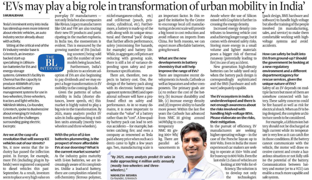 EV AND URBAN MOBILITY Tesla India, Grinntech Nikhilish Mishra