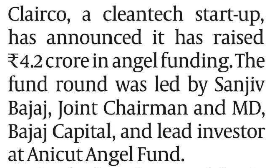 CLEAN AIR AND ANGEL FUNDING