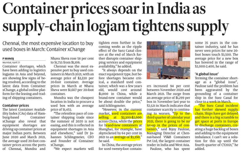 CONTAINER SHORTAGE IS REAL