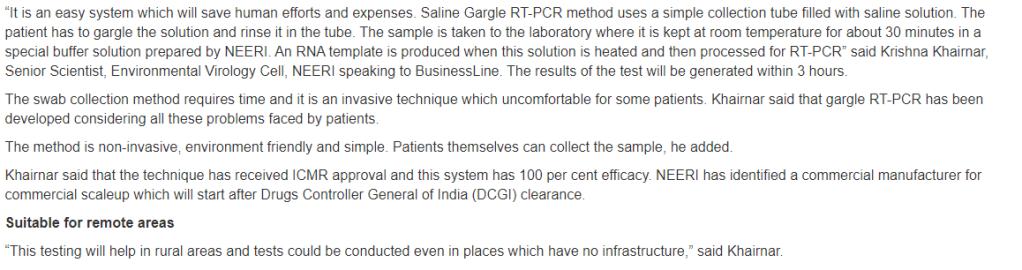 SALINE GARGLE RT-PCR