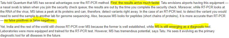 MASS SPECTROMETRY VS RT PCR