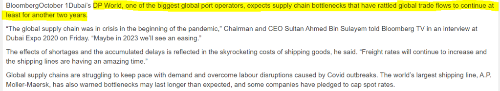 Supply shock may last 2 years as per DP world
