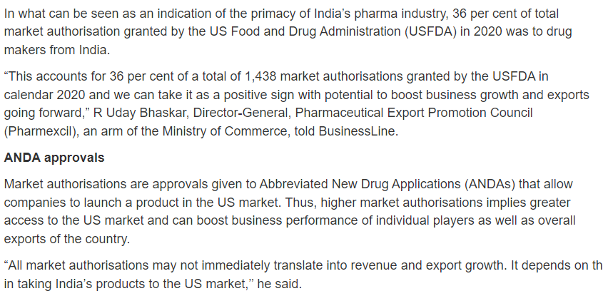 Pharma exports and ANDA Approvals