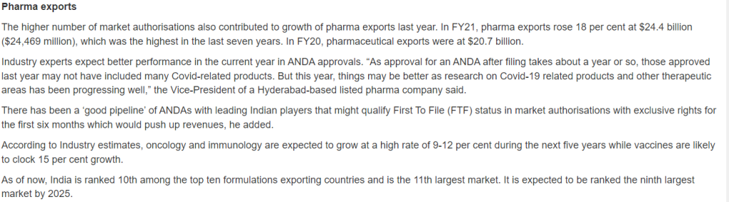 Pharma exports and Approvals